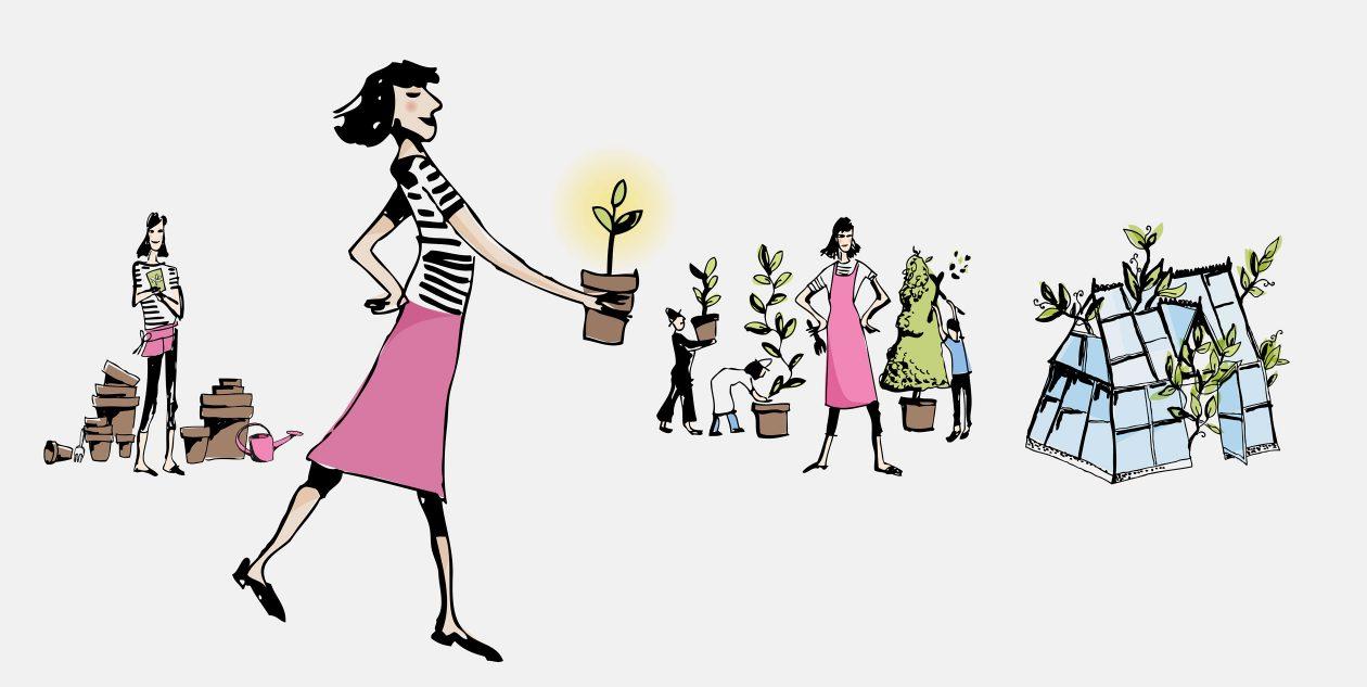 Kvinnovasjon: fra idé til gjennomføring. Illustrasjoner Marianne Zaitzow /Affair